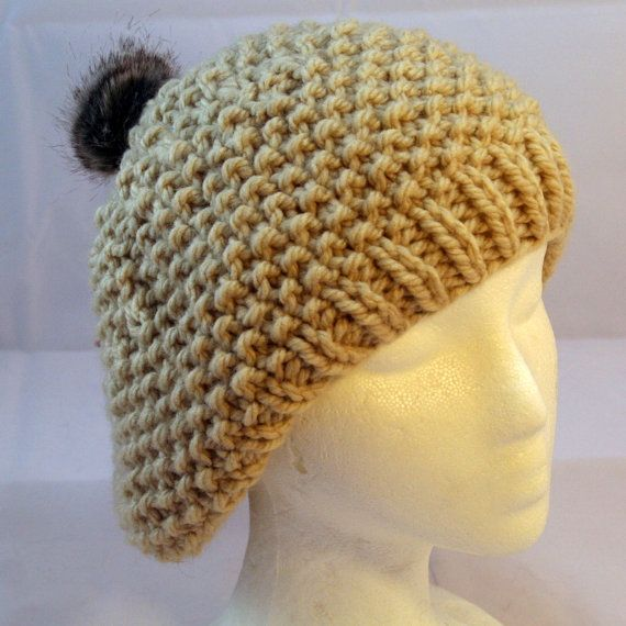 Beret with fur pompom by WoollyLoveHome on Etsy