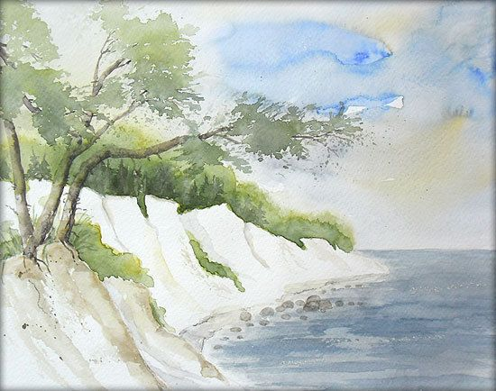 """""""Steilküste an der Ostsee"""" - Aquarell - 24 x 30 cm / Watercolor / Painting / Original /// Prices from € 9 (Ebay auction) /// Postage and packing € 4 (Global shipping)"""