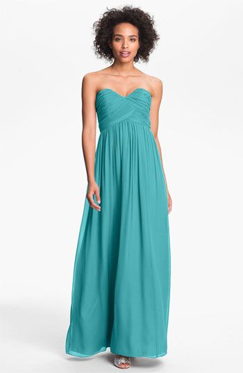 Silk Chiffon for your 'maids? Yes please.    Donna Morgan Silk Chiffon Gown available at Nordstrom #weddings