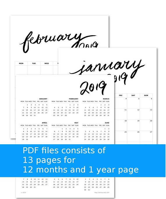 2019 Large Wall Calendar Monthly Planner Large Boxes Simple Brush