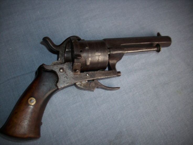 Civil War pinfire pistol from Gettysburg Battlefield. Invented in 1828 by a Frenchman by the name of Casimir Lefaucheux, it was one of the earliest practical designs of a metallic cartridge. The pinfire history is closely associated with the development of the breech-loader which replaced older muzzle loading weapons.