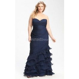 Dark Navy Chiffon Floor-length Sweetheart Trumpet/Mermaid Sleeveless Plus Size Bridesmaid Dresses(UKPSD03-031)