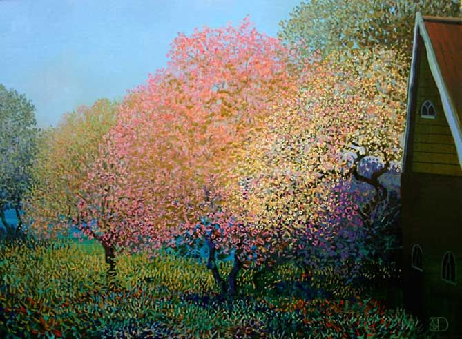 The Garden (Holland 2007) - 23.5 x 31.5 Original Oil on Panel by Ton Dubbeldam
