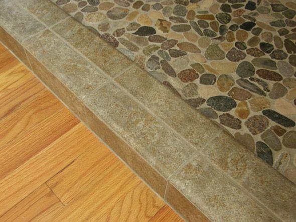Shower Floor Sliced Flat Multi Colored Pebble Mosaic