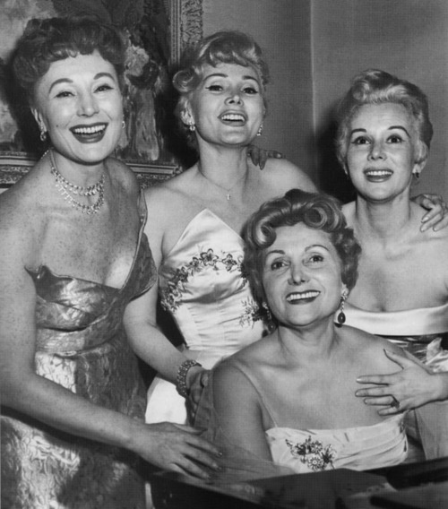 The Gabor Sisters - Magda, Zsa Zsa, and Eva - with their mother Jolie. They caused quite a stir in Hollywood in the 1950s. George Sanders was Zsa Zsa's first husband, but later married Magda.