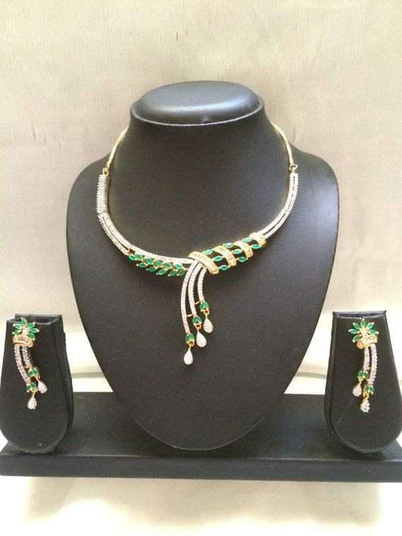 Green Saath Lada  Hyderabadi indian necklace set  by MahrukhD