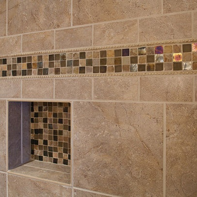 Master Bathroom Shower, Closeup On Accent Tile Traditional Bathroom Part 56