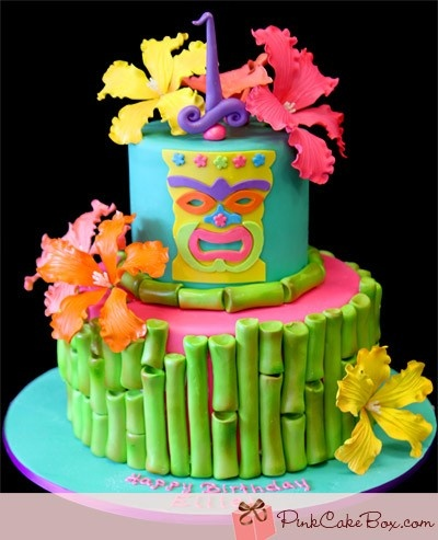 tiki cake. not a huge fan of the bamboo all the way around the bottom, but love the colorful tiki