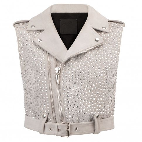 Giuseppe Zanotti - NEW AMELIA - Pearl Grey Women's Suede Vest Jacket With Crystals