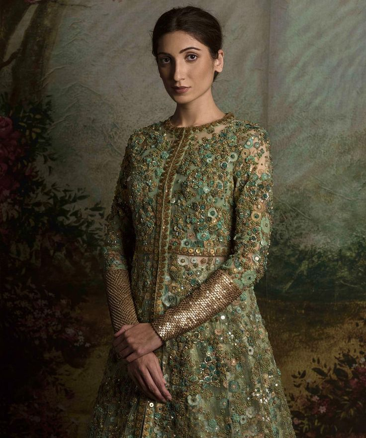 Pista green anarkali with floral embroidery and gold sequinned cuffs - Sabyasachi 2016