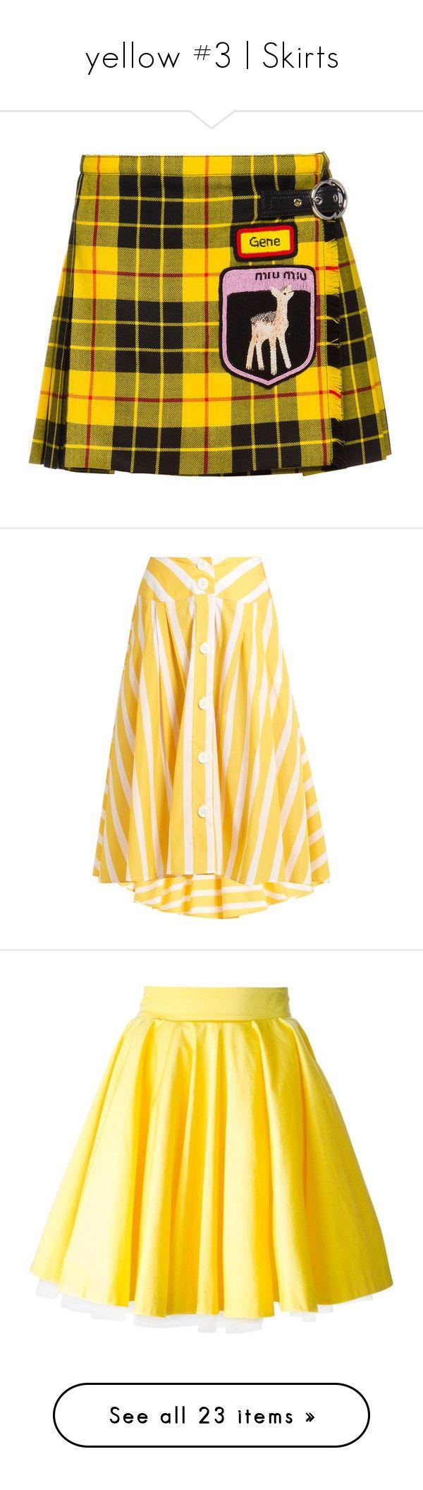 """yellow #3 | Skirts"" by karla-jhoana ❤ liked on Polyvore featuring skirts, yellow tartan skirt, embellished skirt, tartan skirt, woolen skirt, plaid pleated skirts, bottoms, yellow stripe, asymmetrical skirt and striped asymmetrical skirt"