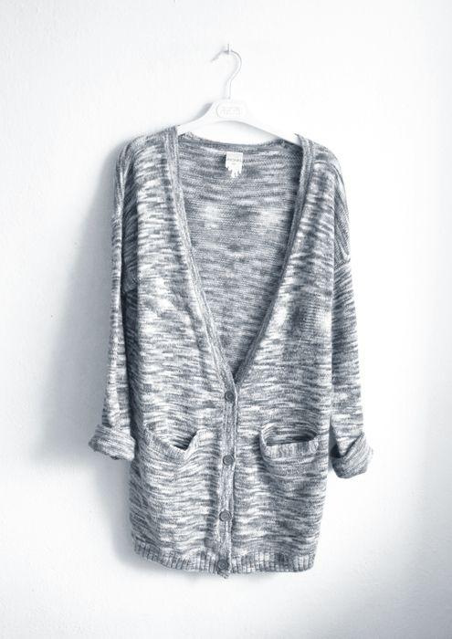 MONKI szary sweter rozpinany długi dłuższy kardian sweterek gruby ciepły oversize luźny melanż jasny
