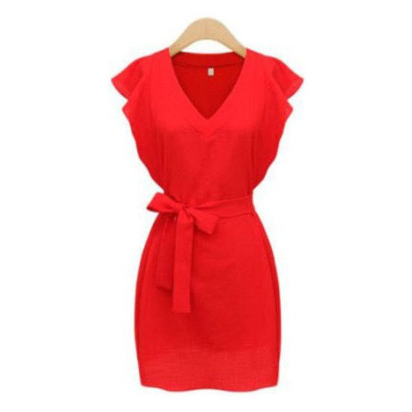 Red V Neck Ruffle Sleeve Self-Tie Dress (50 BRL) ❤ liked on Polyvore featuring dresses, flutter sleeve dress, v neck dress, red v neck dress, ruffle sleeve dress and frill sleeve dress