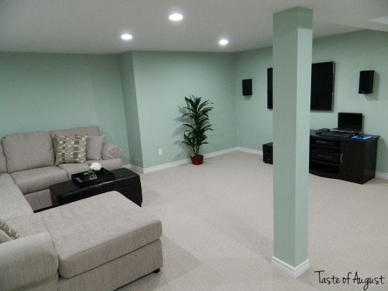 Dark Basement Turned Bright Family Room, A dark and unfinished basement fully renovated into a large family room space. Via: http://tasteofa...