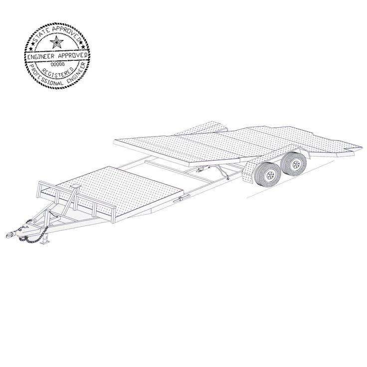 24′ Gravity Tilt Car Hauler Trailer Plans Blueprints - Model 24GT