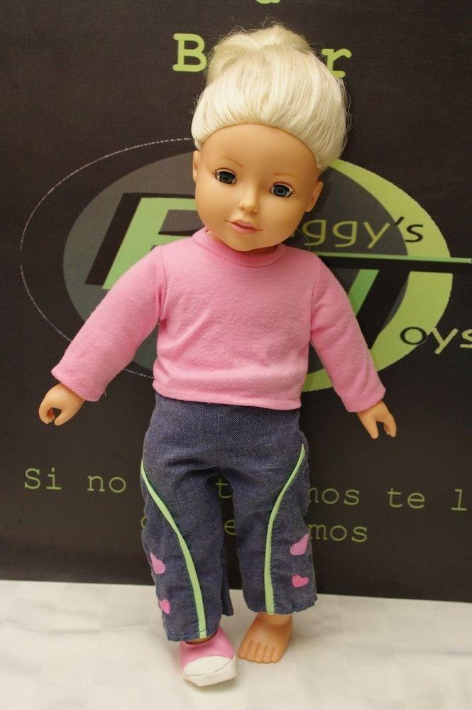 "Craft 18"" Doll Blonde Green Eyes Missing One Shoe Soft Torso"