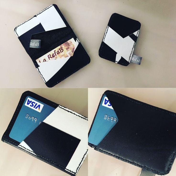 2 nouveaux porte-cartes, simple ou double, en cuir et bâche, couture main au point sellier.