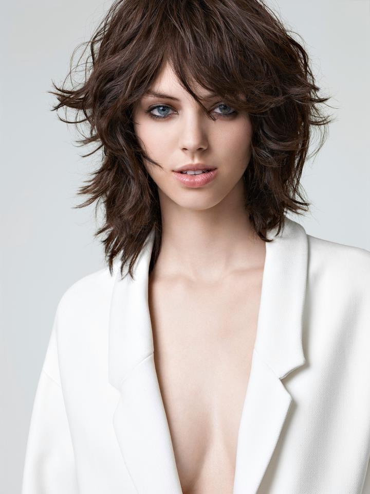 medium length hair cut with layers, texture and bangs