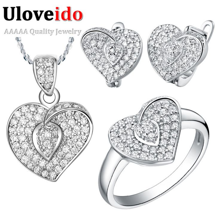 Brincos Silver Heart Jewelry Set Ring Pendant Earring Wedding Decorations Sets of Jewelry Gifts for Women Bijoux Uloveido T003