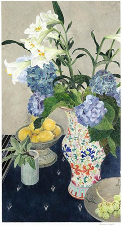 Lilies and Lemons with Nonya Vase, 2006 by Cressida  Campbell; woodblock