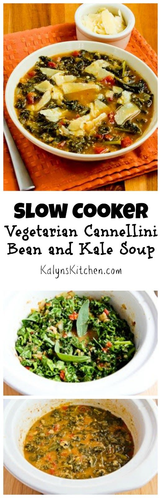 It may not look too glamorous, but this Slow Cooker Vegetarian Cannellini Bean and Kale Soup with Shaved Parmesan is one of my favorite slow cooker soups. DO NOT miss the shaved Parmesan!  (Can Freeze, Meatless Monday) [from KalynsKitchen.com]