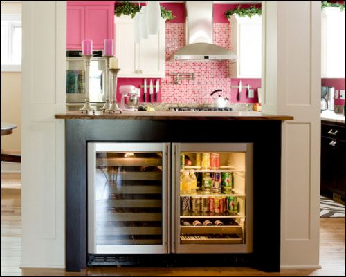 built in wine cooler and in kitchen - Built In Wine Fridge
