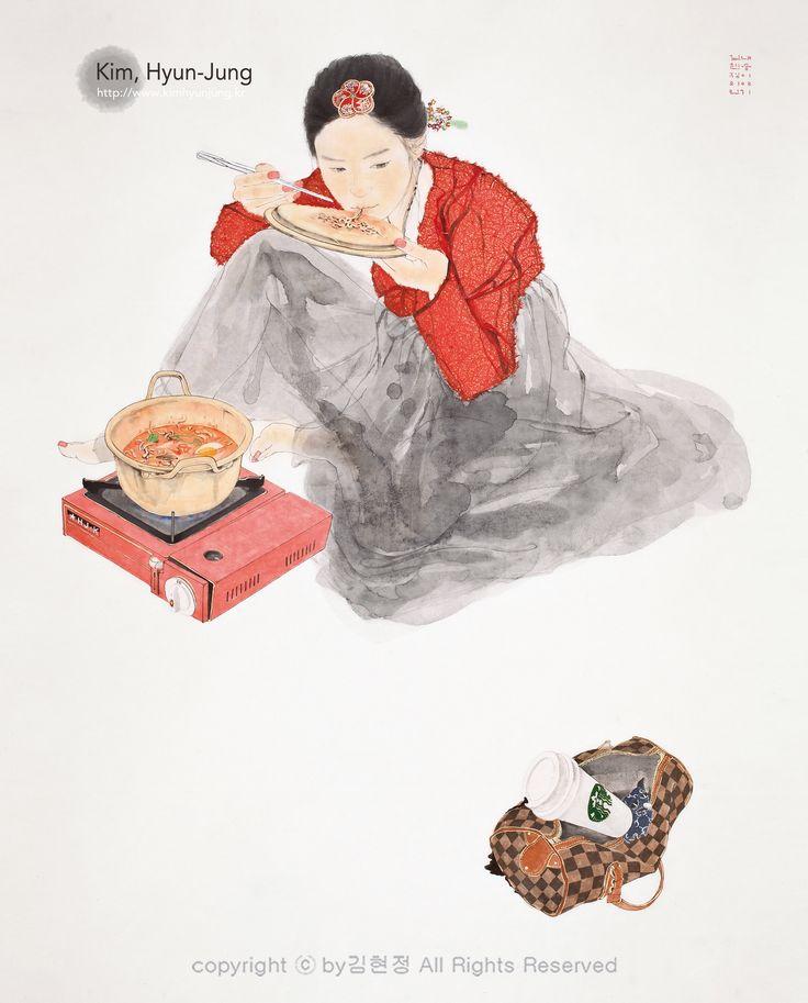 #Kaffee #Tasche #Künstler #Illustration #Frau #Bild #Art #Kunst #Gallery #Desktop-Hintergrund #Portfolio #OrientalMalereiMalereiKoreaSüdkorea #Hanbok Katze#Illustration #Ausstellung#Kimhyunjung #Hyunjungkim#Hanbok #Art #Artist #Feign #OrientalArt #Fineart#Koreanische Malerei #Korean Chinese #ModerneKunst #Pop-Art#Künstler#OrientalPainting  #koreanischeMalerei  #Gold #HyunJung #Amusementpark #Insadong #Galerie