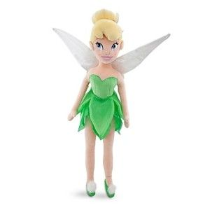"Tinker Bell Plush Doll 21 1/2"" Her wings and dress glitter. Her features are embroidered and her shoes have fuzzy little pom poms on."