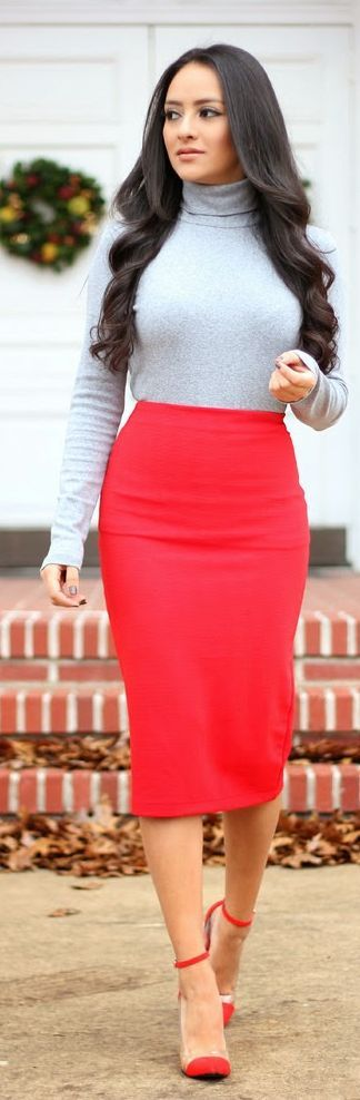 Red Pencil Skirt Office Style
