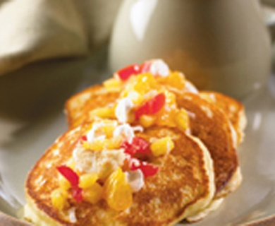 Ricotta Pancakes with Ambrosia Salsa and Tre Stelle® Extra Smooth Ricotta Cheese #pancakes #brunch #ricotta #recipe