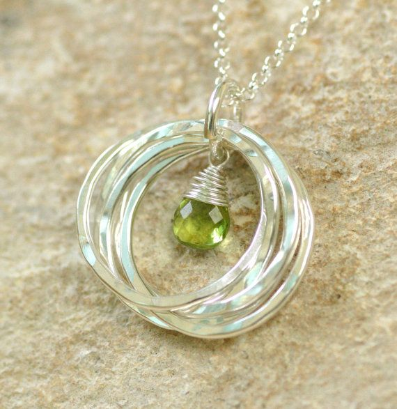 50th birthday gift, August birthstone necklace, gift for mother, peridot necklace, mother's necklace - Lilia
