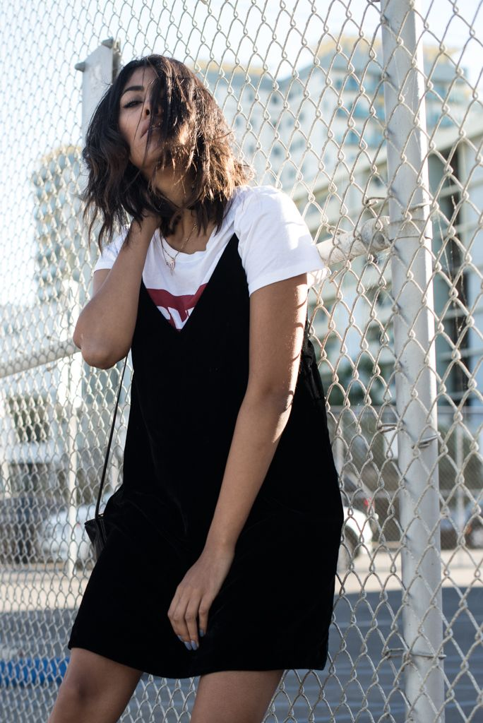 storm wears and other stories velvet dress in black with a white levis t-shirt and céline trio Bag in black theadorabletwo