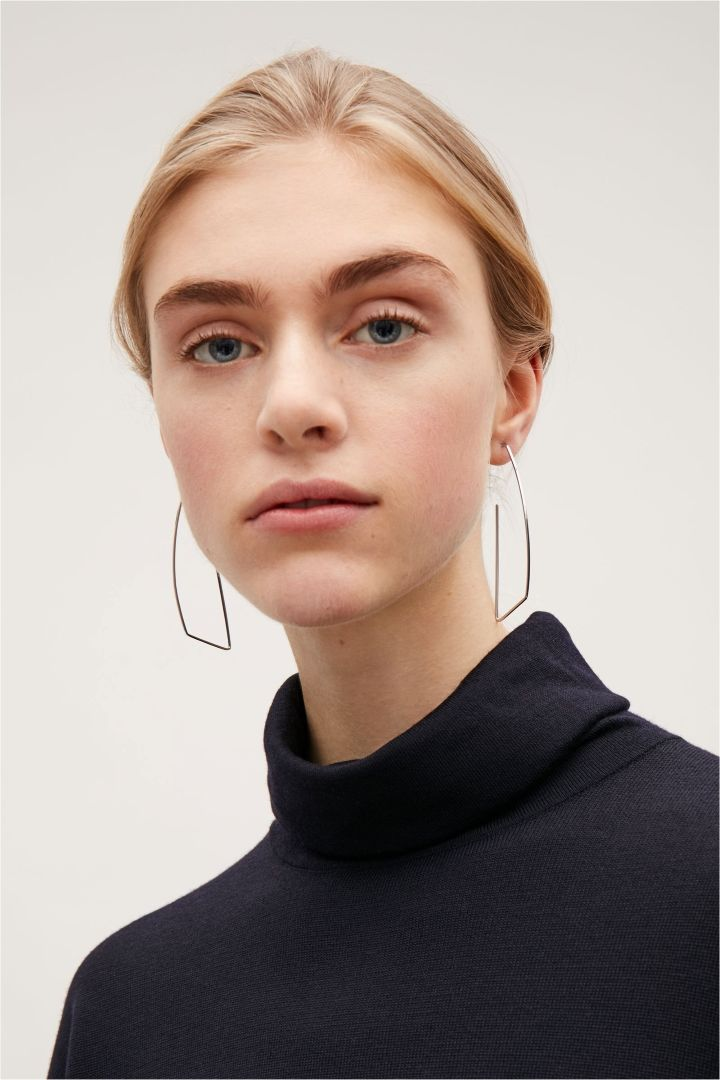 COS image 3 of Irregular hoop earrings in Silver
