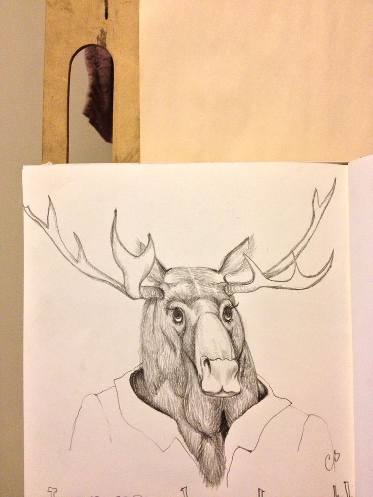 My children's book character sketch, a lady Moose sous chef of the restaurant (pencil on paper)