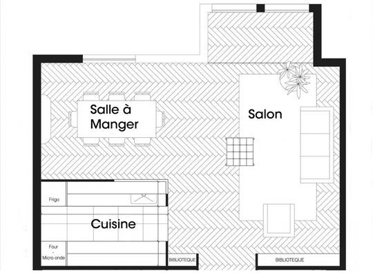 39 best maison images on Pinterest Cottage, Floor plans and House - plan salon cuisine sejour salle manger