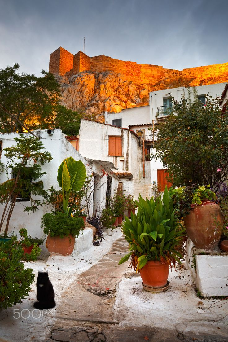 Athens, Greece - September 28 2015: Acropolis as seen from a street in Anafiotika.