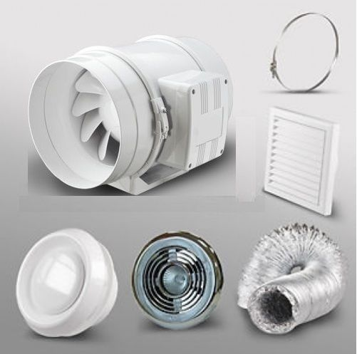 4 Bathroom Extractor Fan Led Light Kit Shower Room Loft Ceiling Grill Duct Timer Ebay