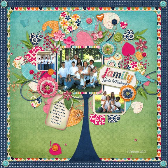"Family by Stacey Jewell Stahl. This layout just screams ""original"". I just love everything about it!!!"