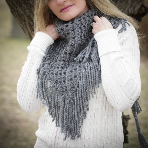 Eyelet Lace Scarf Knitting Pattern : Loom Knit Eyelet Triangle Shawl PATTERN. Lace Scarf Pattern.PDF Pattern is av...