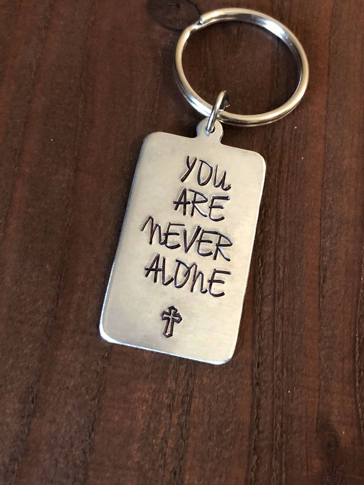 You Are Never Alone Keychain•Christian Keychain•Hand stamped Keychain•Mens Keyring•Women's Keyring•Hand Stamped You Are Never Alone•Cross by ACharmAbove on Etsy