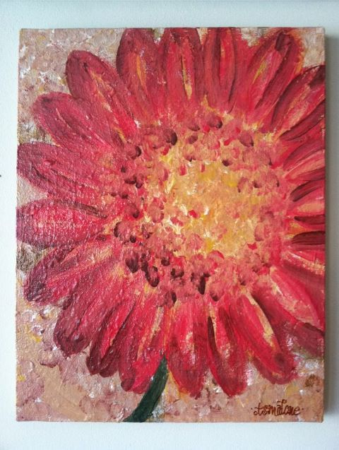 canvas painting of a bright, orange flower  $75.00