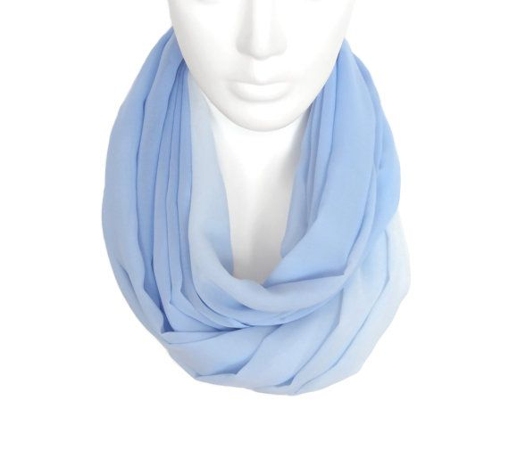 blue infinity scarf sky blue ombre scarf by AnnushkaHomeDecor