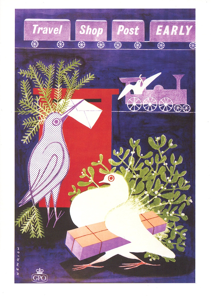 £2.50 - Greetings card - The Travel Shop Post Early poster from 1950 by FHK Henrion - available from http://www.postalheritage.org.uk/page/greetings-earlydove