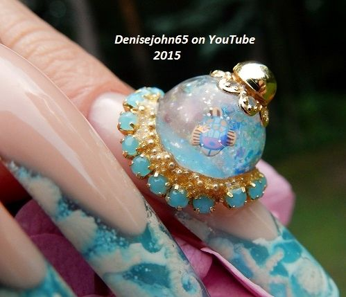 Water Globe / ( snow globes ) Ocean Mini Water Globes for the nails ....Come check out my YouTube Channel - Denisejohn65 ...I will have a tutorial on how I did these nails very soon .