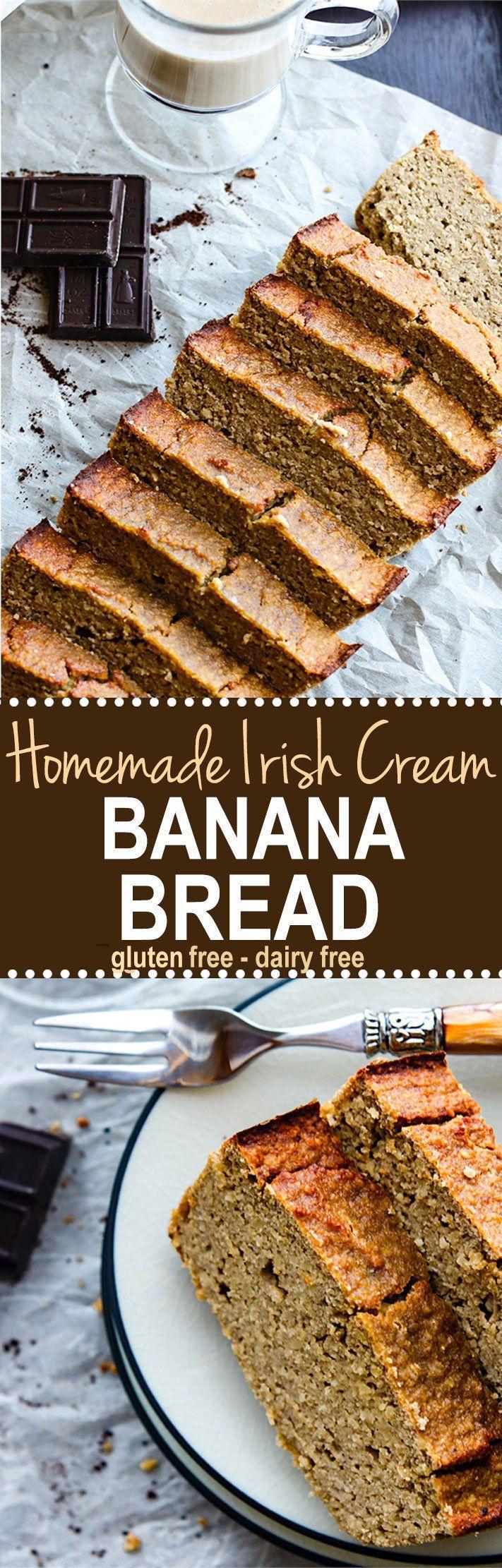 Homemade Irish Cream Gluten Free Banana Bread. Dairy Free Homemade Irish Cream baked right into a super healthy grain free and gluten free banana bread. The perfect IRISH treat for anytime! Make and enjoy for breakfast, snacking, or dessert! Paleo friendly version as well.