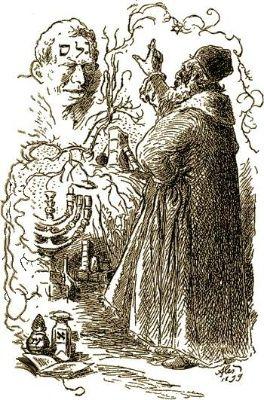 Rabi Löw tvoří golema (kresba Mikoláše Alše)