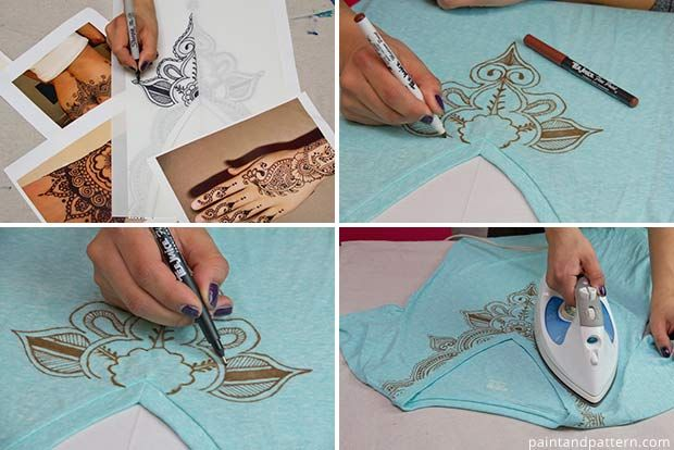 Tracing patterns for DIY Henna inspired tee shirts using Tee Juice Pens