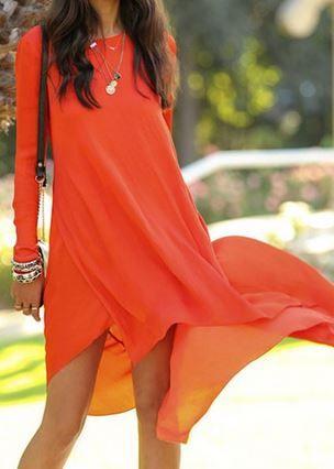 Tangerine Orange Long Sleeve Solid Color Asymmetrical Women's Beach Dress   Love this Color! Love the Hemline!