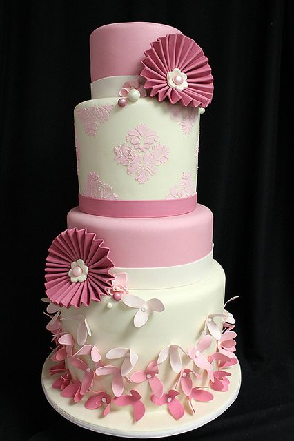 Pink Paper Flower Cake by Amanda Oakleaf Cakes
