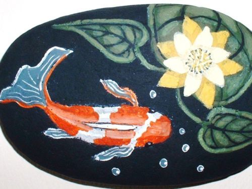 Hand painted rock pretty koi fish pond with yellow for Koi fish pond rocks